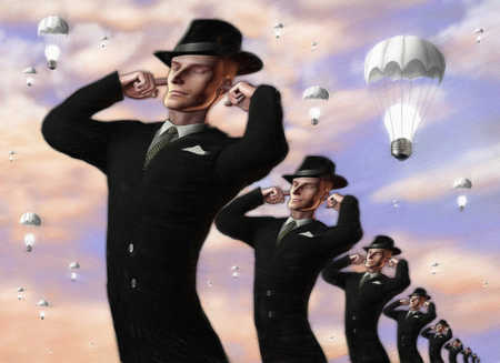 Businessmen covering ears under light bulbs in parachutes