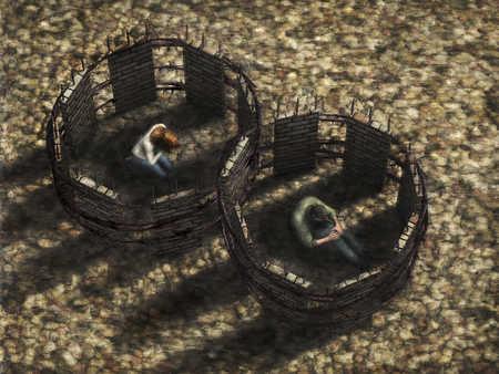 Sad couple surrounded by fences