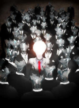 Businessperson with light bulb as head surrounded by broken light bulbs