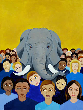Elephant in crowd of multi-ethnic people