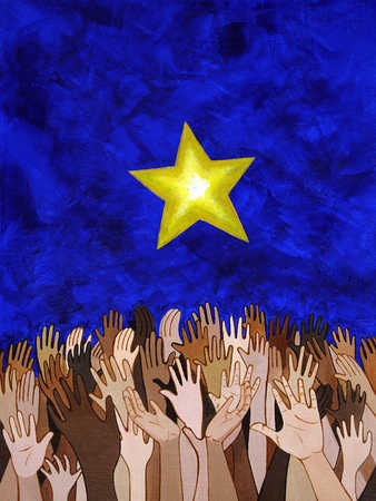 Multi-ethnic people reaching for star