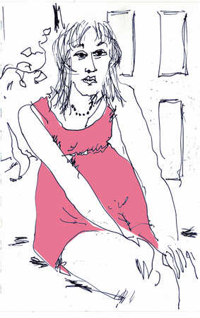Illustration of woman with hands on knees