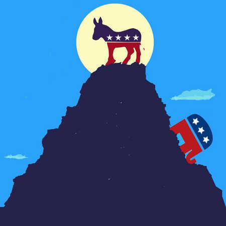 Political donkey symbol on top of mountain above political elephant symbol