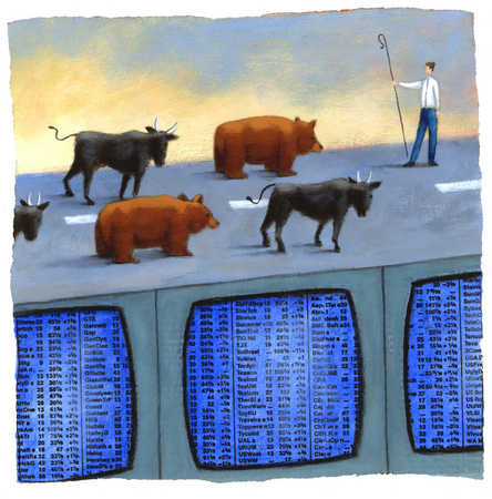 Businessman shepherd watching bulls and bears on stock market screens