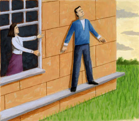 Woman reaching through window to man on low ledge