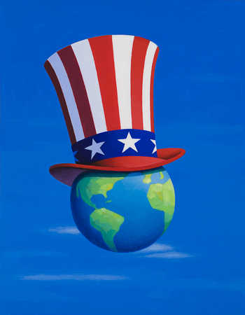 Globe wearing American flag top hat