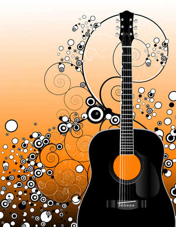 Illustration Of Guitar And Circle Designs
