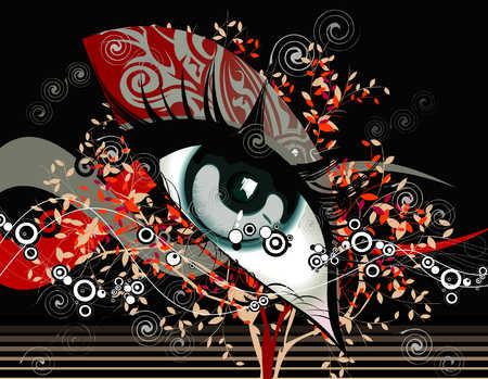 Abstract design around woman's eye