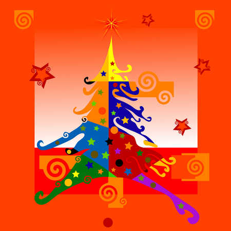 Colorful illustration of Christmas tree