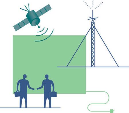Businessmen shaking hands under satellite
