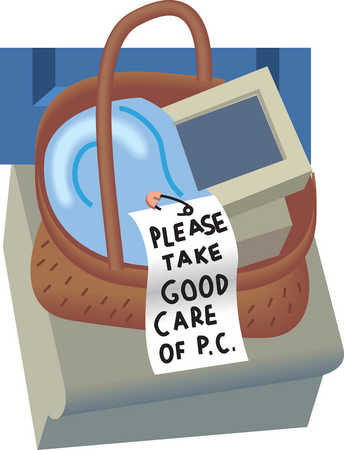 Computer and blanket in basket with note