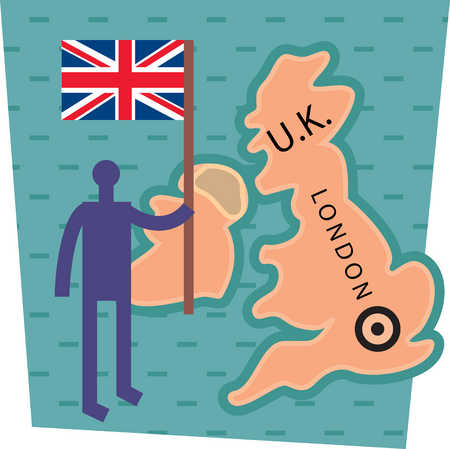 Person holding flag in front of map of the United Kingdom