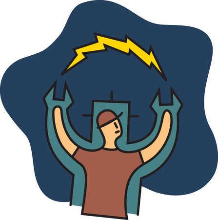 Man with lightning bolt between hands