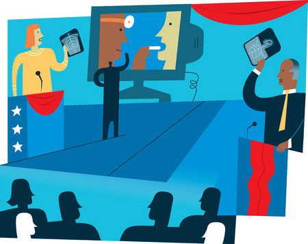 Healthcare debate with presentation screen