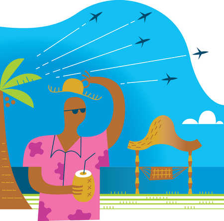Man with cocktail on tropical island