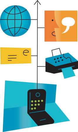 Telephone connected to email, fax, globe and person