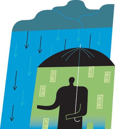 Person with money raining down under umbrella