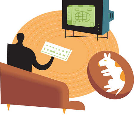 Person using internet television