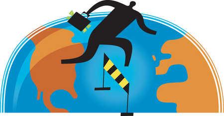 Businessman hurdling between continents