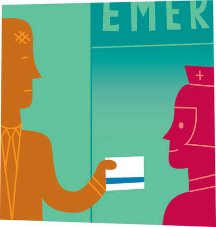 Injured man giving card to emergency room nurse