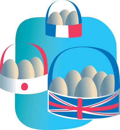 National flag baskets of eggs