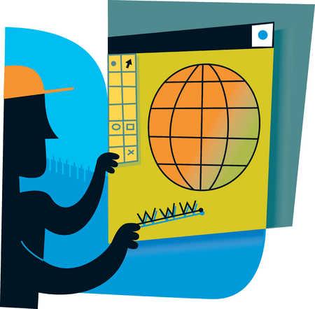 Man holding illustration of globe