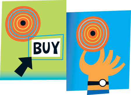 Hand reaching for target next to arrow pointing to buy sign