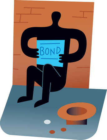 Panhandler holding government bond