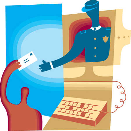 Person handing mail to postman inside computer