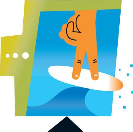 Fingers on surfboard surfing internet