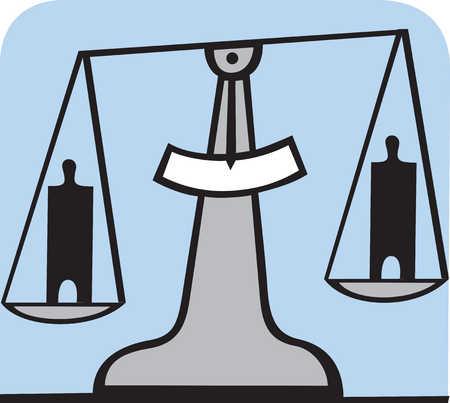 People balancing on scale