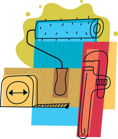 Illustration of tape measure, wrench and paint roller
