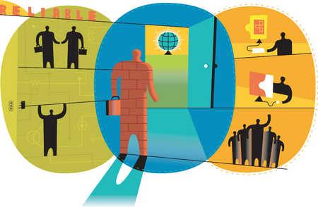 Businessman looking at global networking in doorway