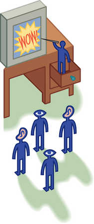 People watching presentation by person in drawer