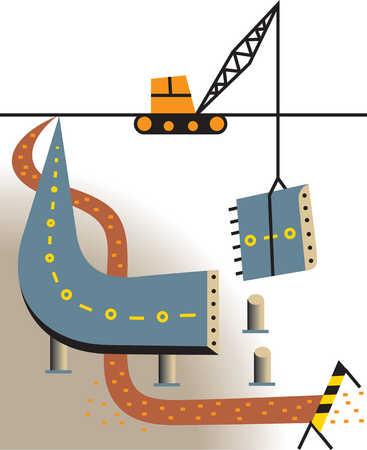 Crane building raised highway