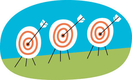 Row of targets with arrows in center