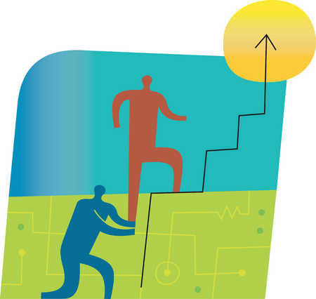 Person helping other person climb line graph