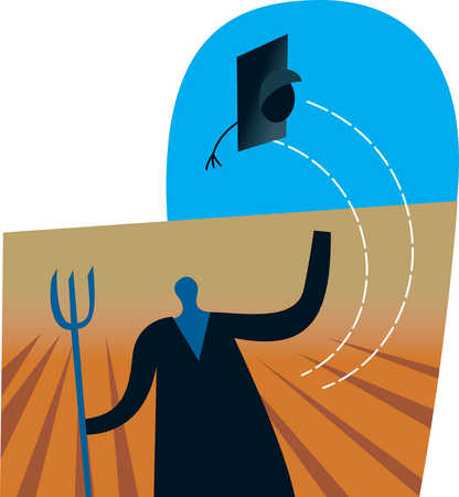 Graduate holding pitchfork and throwing cap in air