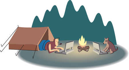 Man and dog using laptops while camping