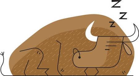 Illustration of sleeping bull
