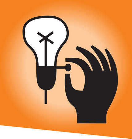 Hand reaching for light bulb switch