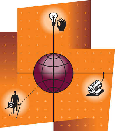 Illustration of globe, printing press, person and light bulb