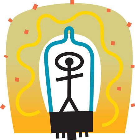 Person inside light bulb