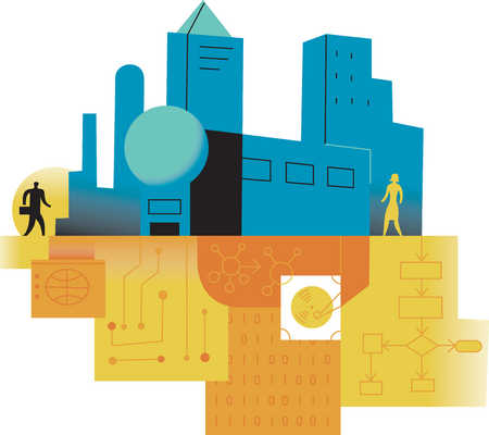 Businesspeople on opposite sides of city