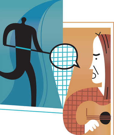 Man holding net next to person playing guitar