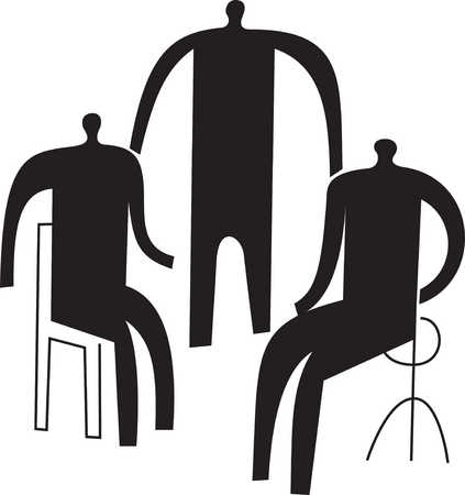 Person standing between two people sitting