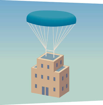 Building floating under parachute