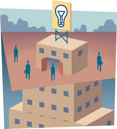 Business people standing around building with light bulb