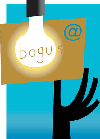 Hand holding bogus mail in front of light bulb