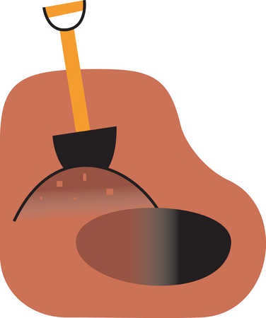 Illustration of shovel and hole